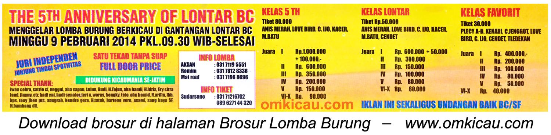 Brosur Lomba Burung Berkicau 5th Anniversary Lontar BC, Surabaya, 9 Februari 2014