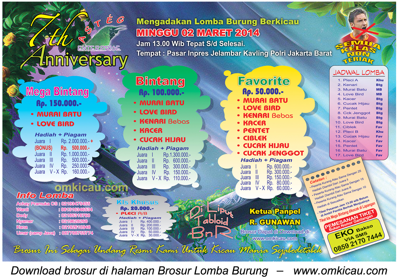 Brosur Lomba Burung Berkicau 7th Anniversary Asteg Enterprise, Jakarta Barat, 2 Maret 2014