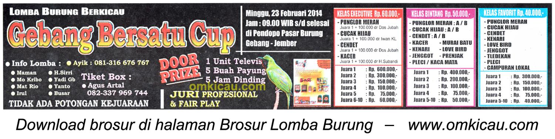Brosur Lomba Burung Berkicau Gebang Bersatu Cup, Jember, 23 Februari 2014.