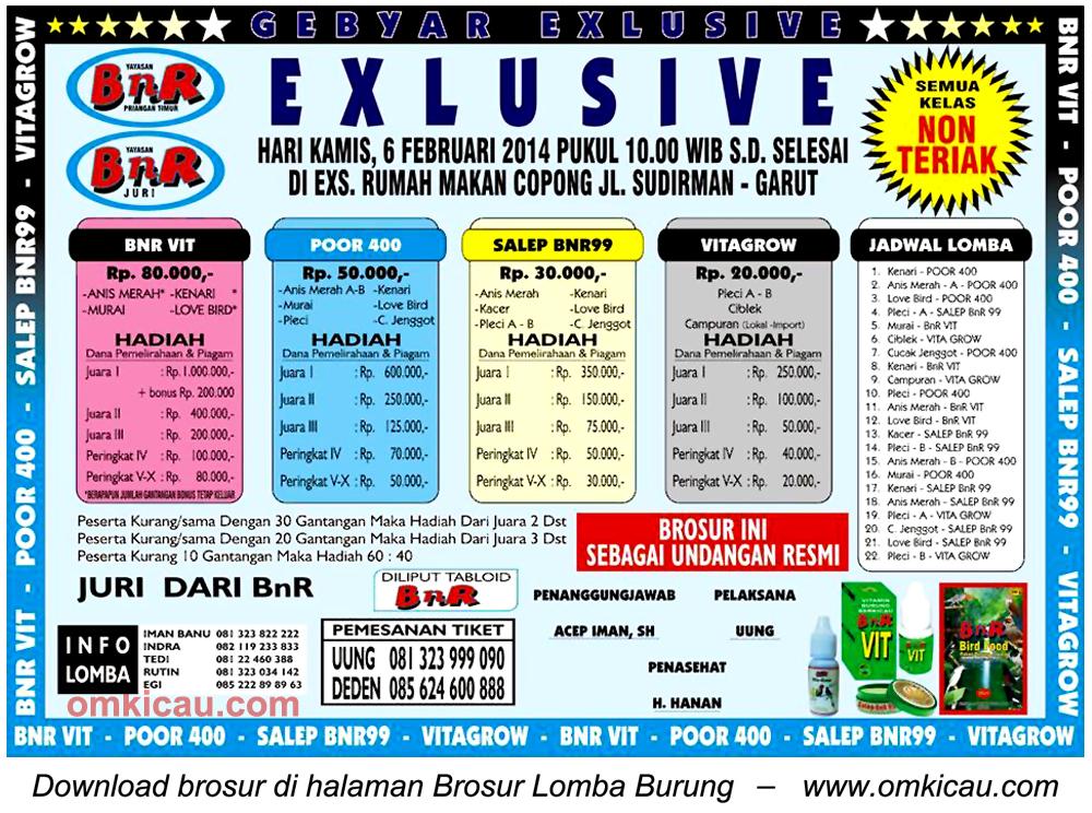 Brosur Lomba Burung Berkicau Gebyar Exclusive, Garut, 6 Februari 2014