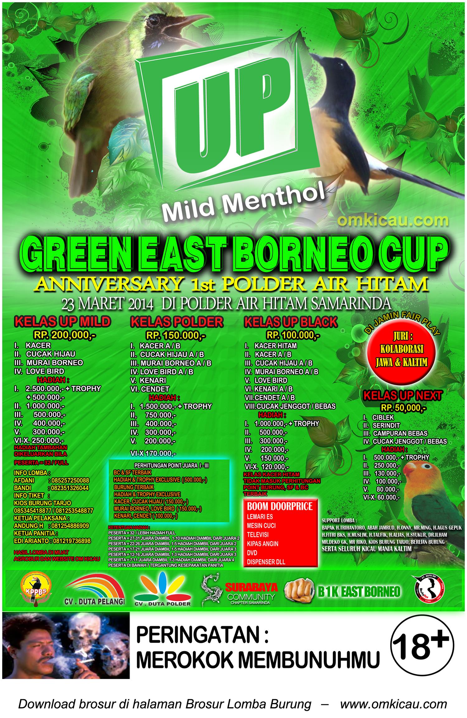 Brosur Lomba Burung Berkicau Green East Borneo Cup, Samarinda, 23 Maret 2014