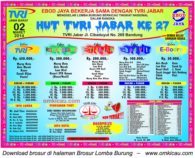 Brosur Lomba Burung Berkicau HUT Ke-27 TVRI Jabar, Bandung, 2 Maret 2014