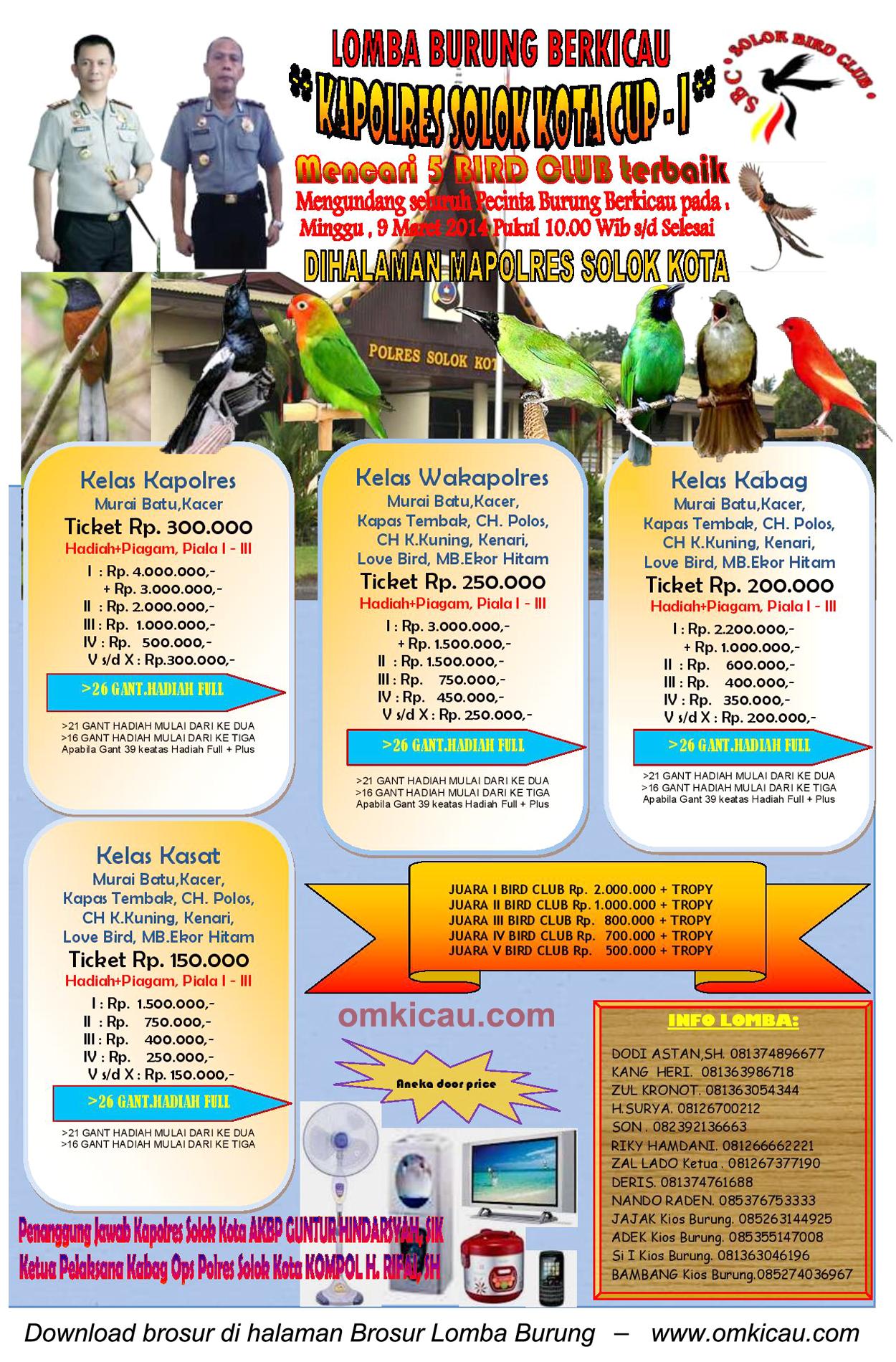Brosur Lomba Burung Berkicau Kapolres Solok Kota Cup I, Solok, 9 Maret 2014