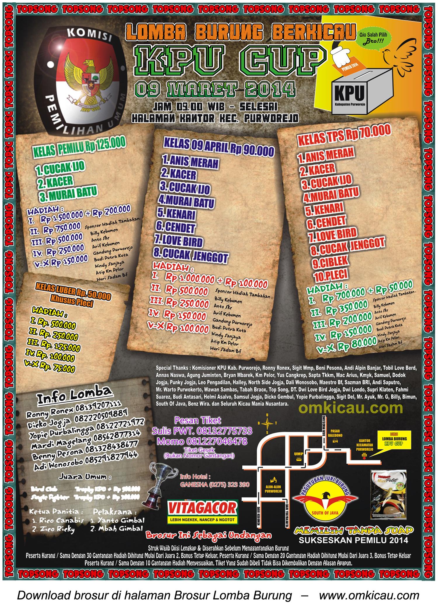 Brosur Lomba Burung Berkicau KPU Cup, Purworejo, 9 Maret 2014