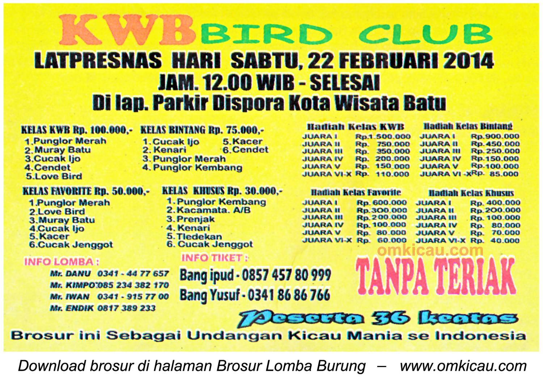 Brosur Lomba Burung Berkicau KWB Bird Club, Batu, 22 Februari 2014