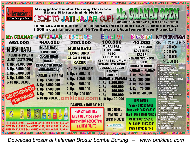 Brosur Lomba Burung Berkicau Mr Granat Open 16 Maret 2014