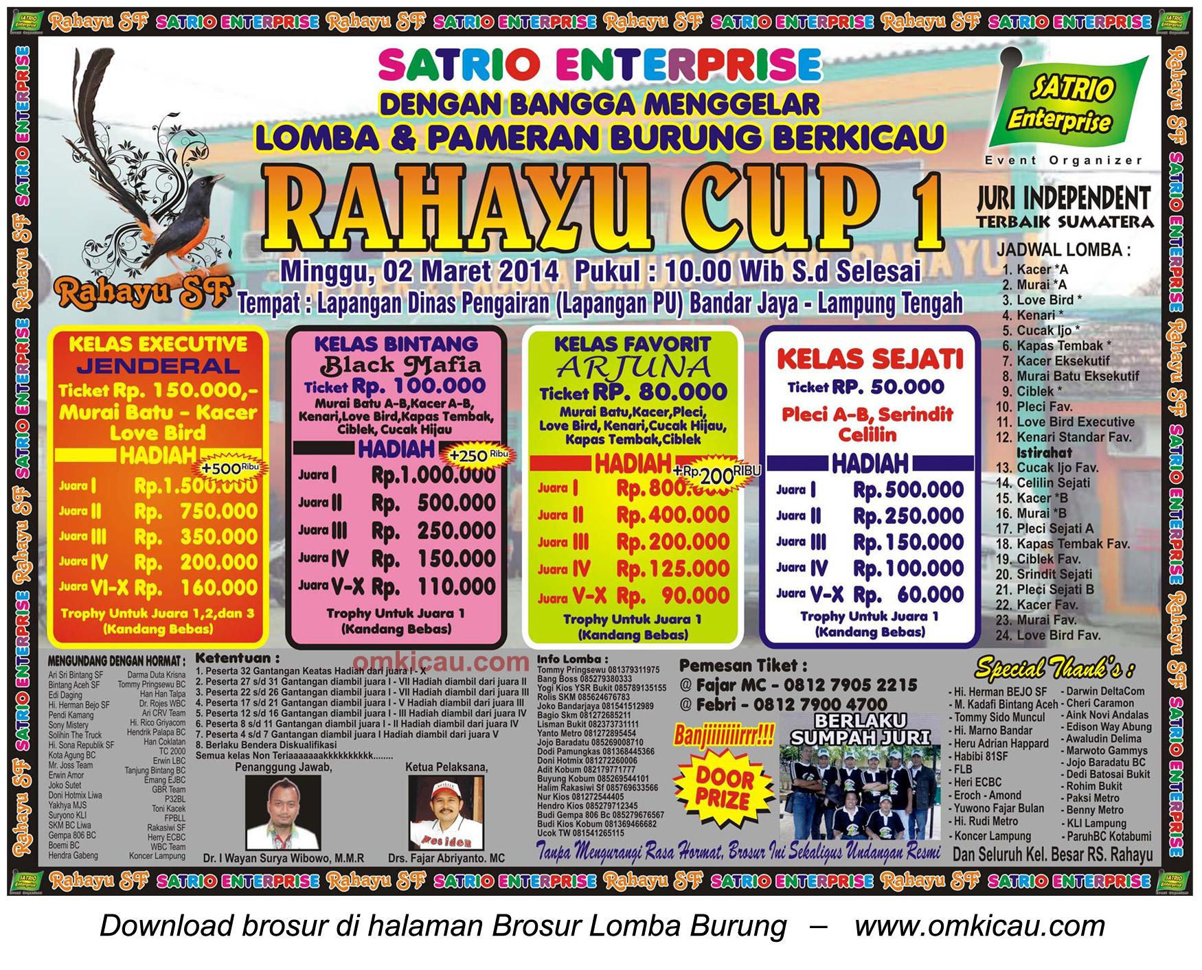 Brosur Lomba Burung Berkicau Rahayu Cup 1, Lampung Tengah, 2 Maret 2014