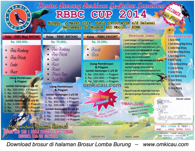 Brosur Lomba Burung Berkicau RBBC Cup 2014, Bima, 2 Maret 2014
