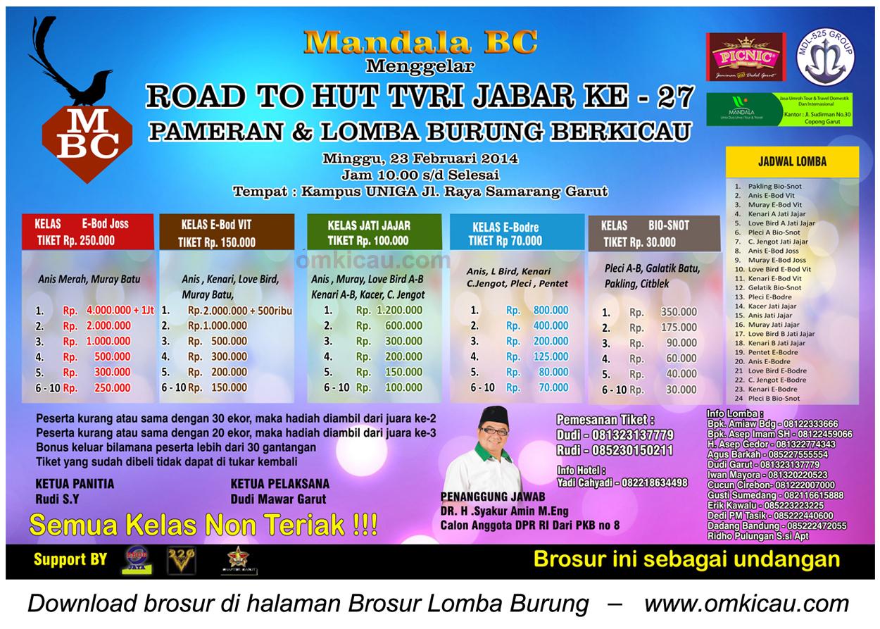 Brosur Lomba Burung Berkicau Road to HUT TVRI Jabar, Garut, 23 Februari 2014