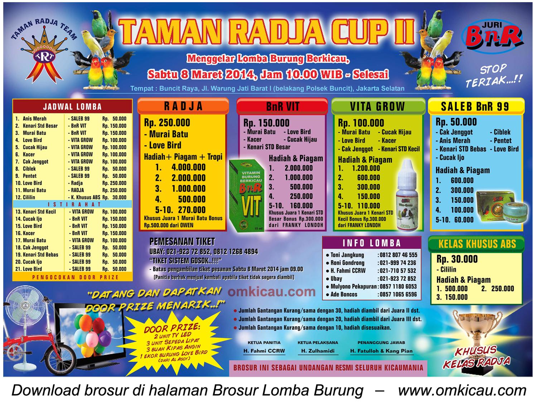 Brosur Lomba Burung Berkicau Taman Radja Cup II, Jakarta Selatan, 8 Maret 2014