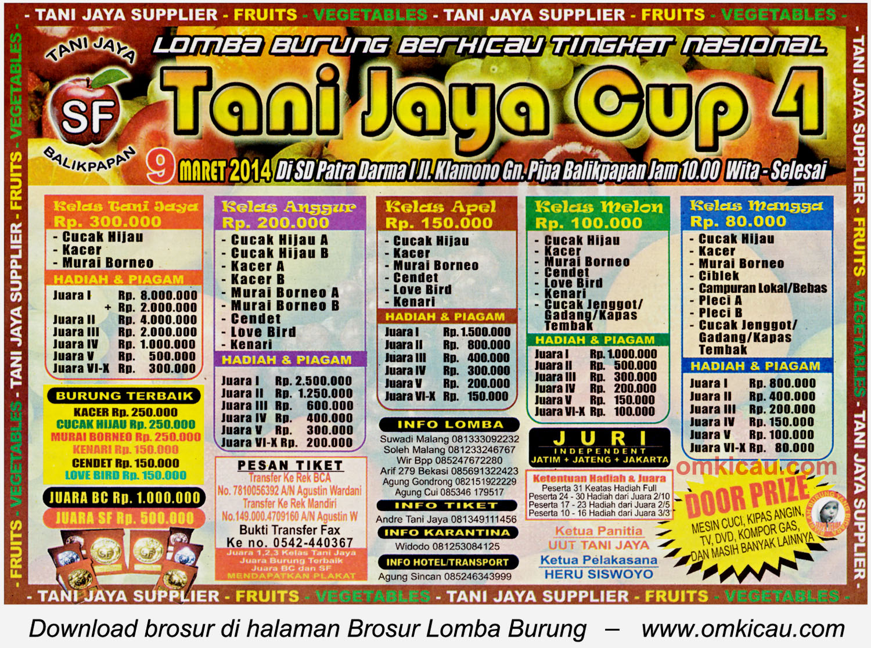 Brosur Lomba Burung Berkicau Tani Jaya Cup 4, Balikpapan, 9 Maret 2014