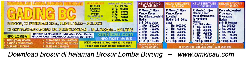 Brosur Lomba Burung Gading BC, Malang, 23 Februari 2014