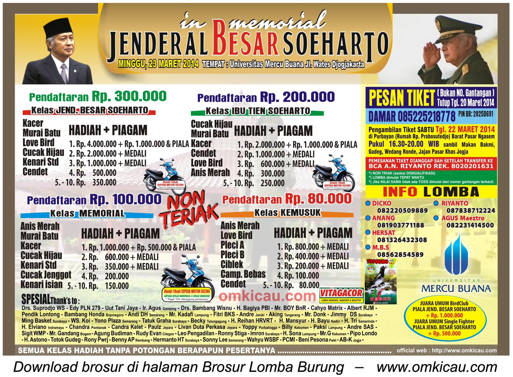 Brosur Lomba Burung Jenderal Besar Soeharto