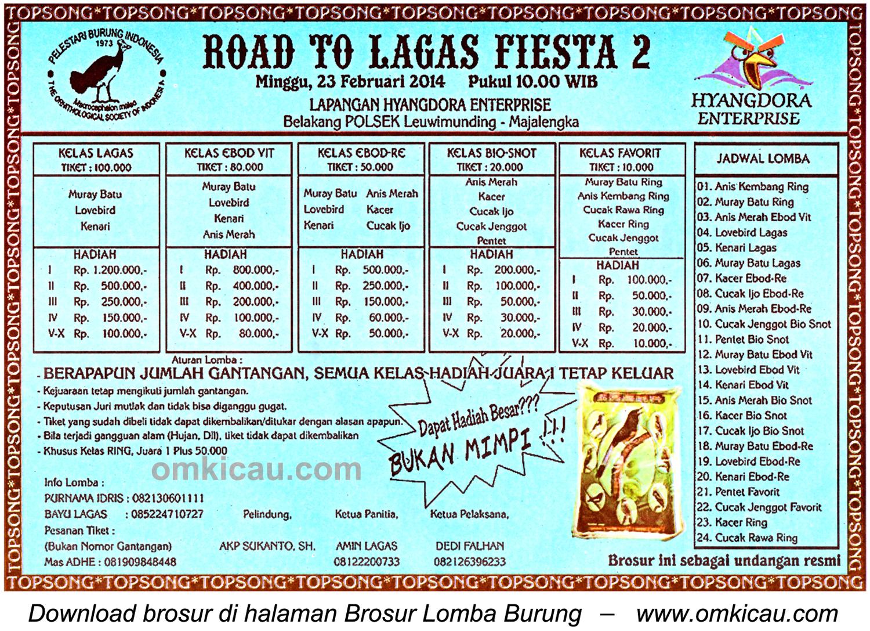 Brosur Lomba Burung Road to Lagas Fiesta 2, Majalengka, 23 Februari 2014