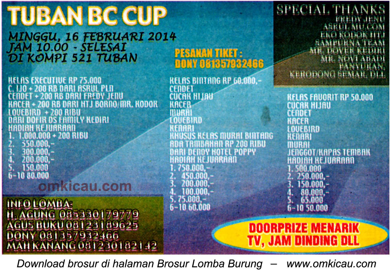 Brosur Lomba Burung Tuban BC Cup, 16 Februari 2014