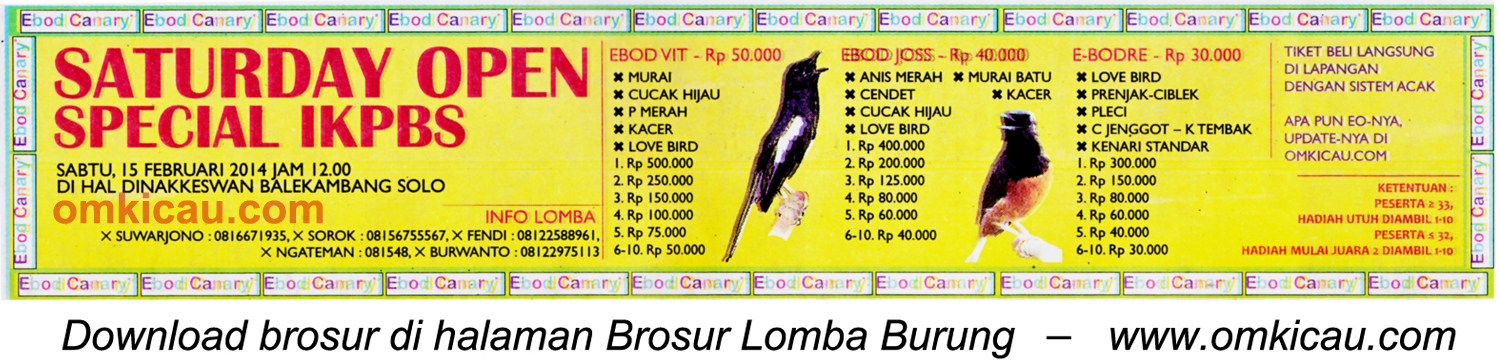 Brosur Saturday Open Special IKPBS, Solo, 15 Februari 2014