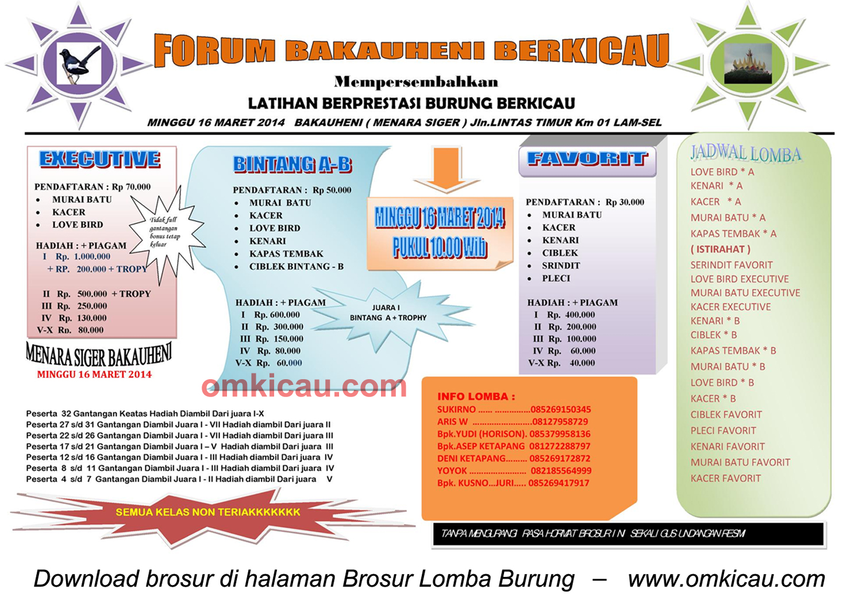Latber Burung Forum Bakauheni Berkicau, Lampung Selatan, 16 Maret 2014