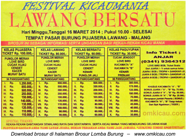 Brosur Festival Kicaumania Lawang Bersatu, Malang, 16 Maret 2014