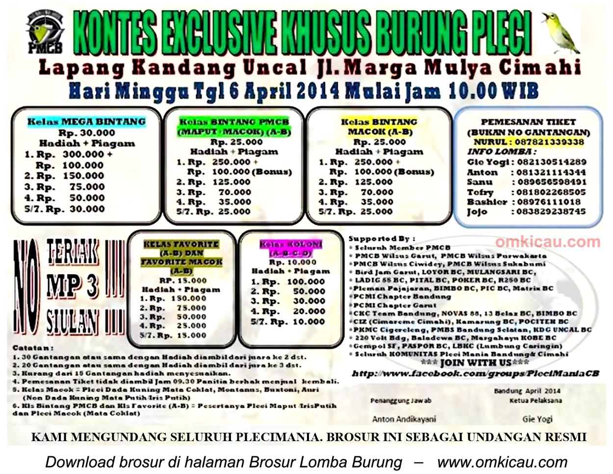 Brosur Kontes Exclusive Khusus Burung Pleci, Cimahi, 6 April 2014