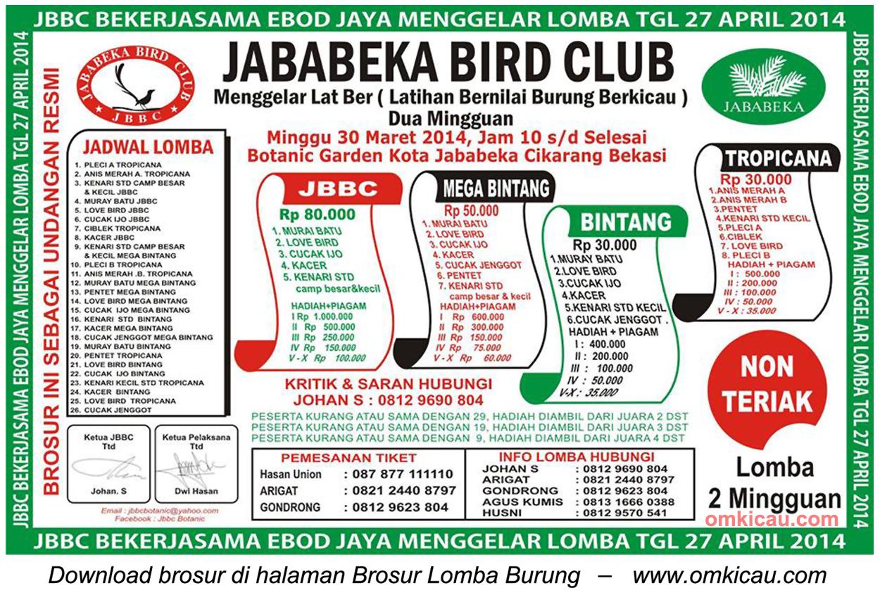 Brosur Latber Burung Berkicau Jababeka BC, Bekasi, 30 Maret 2014