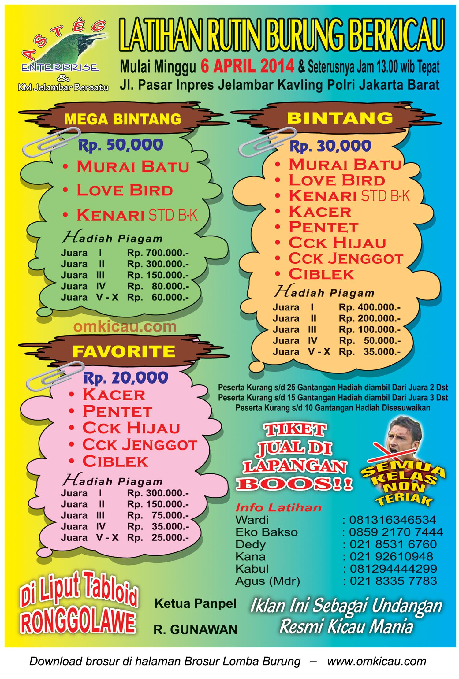 Brosur Latihan Rutin Burung Berkicau Asteg Ceria, Jakarta Barat, 6 April 2014