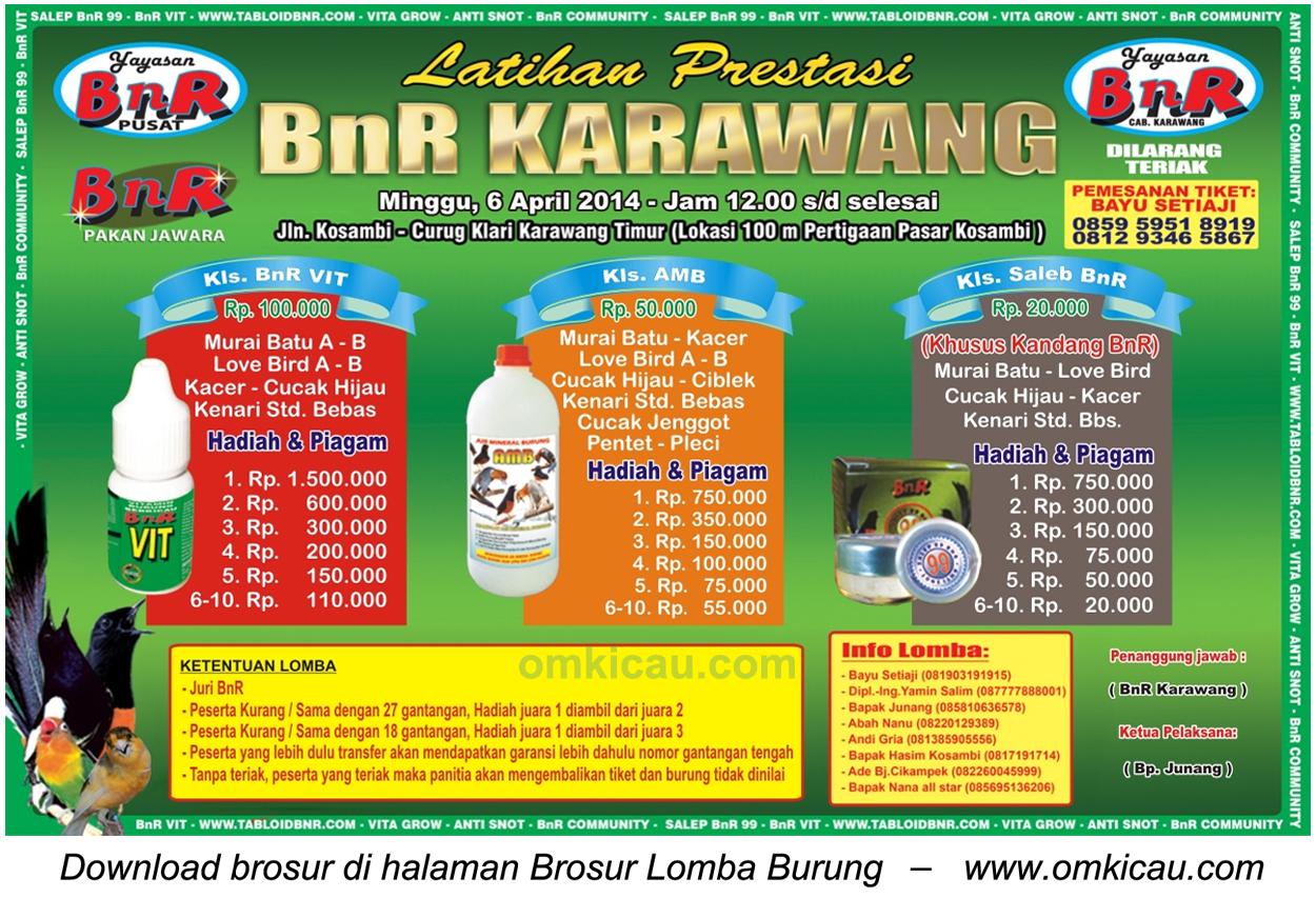 Brosur Latpres Burung Berkicau BnR Karawang, 6 April 2014