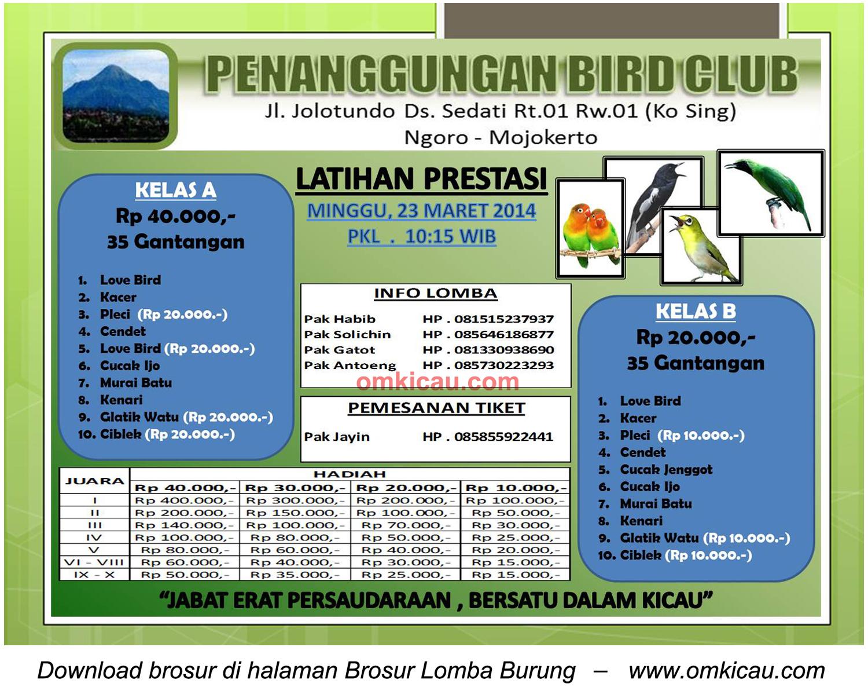 Brosur Latpres Burung Berkicau Penanggungan BC, Mojokerto, 23 Maret 2014