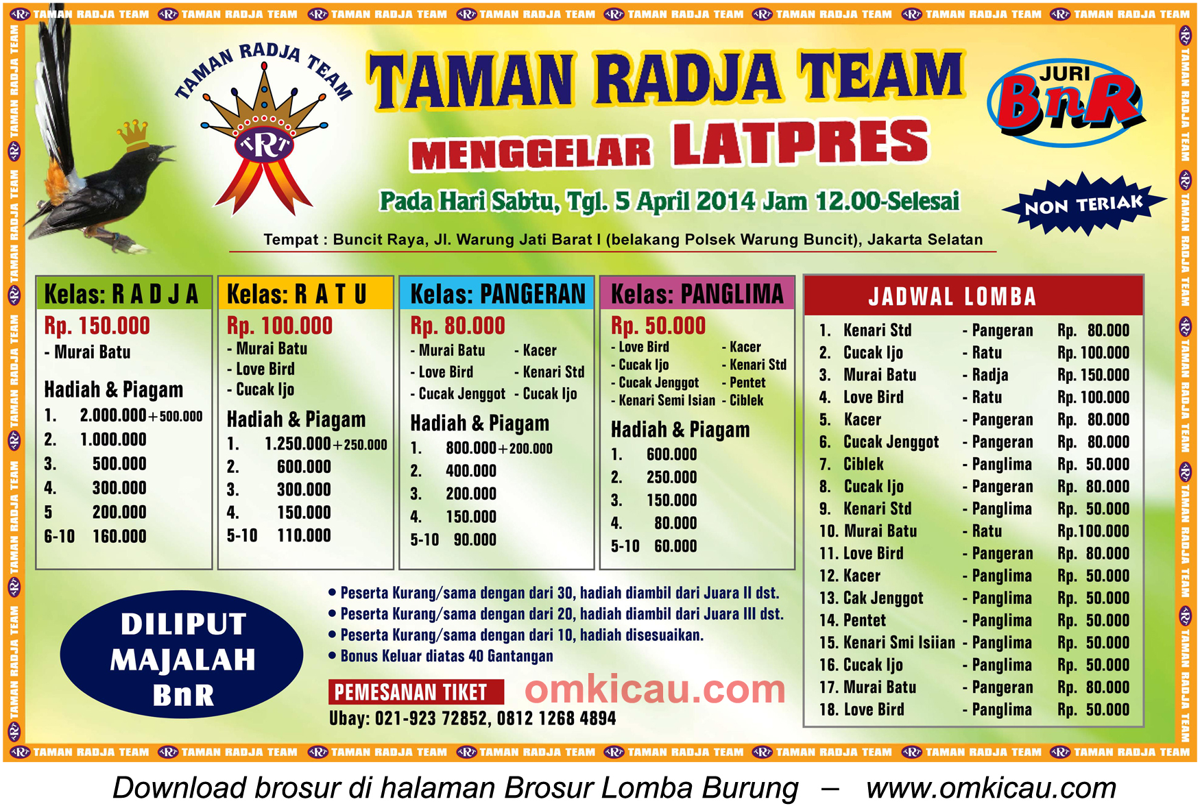 Brosur Latpres Burung Berkicau Taman Radja Team, Jakarta Selatan, 5 April 2014