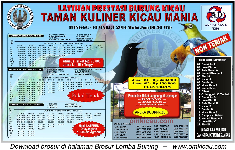 Brosur Latpres Burung Berkicau TKKM, Jogja, 16 Maret 2014