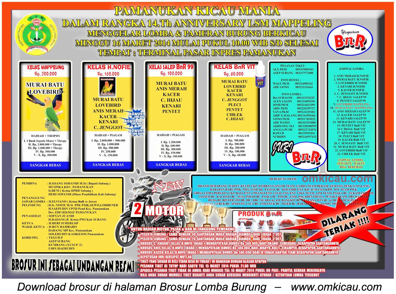 Brosur Lomba Burung Berkicau 14th Anniversary LSM Mappeling, Pamanukan, 16 Maret 2014