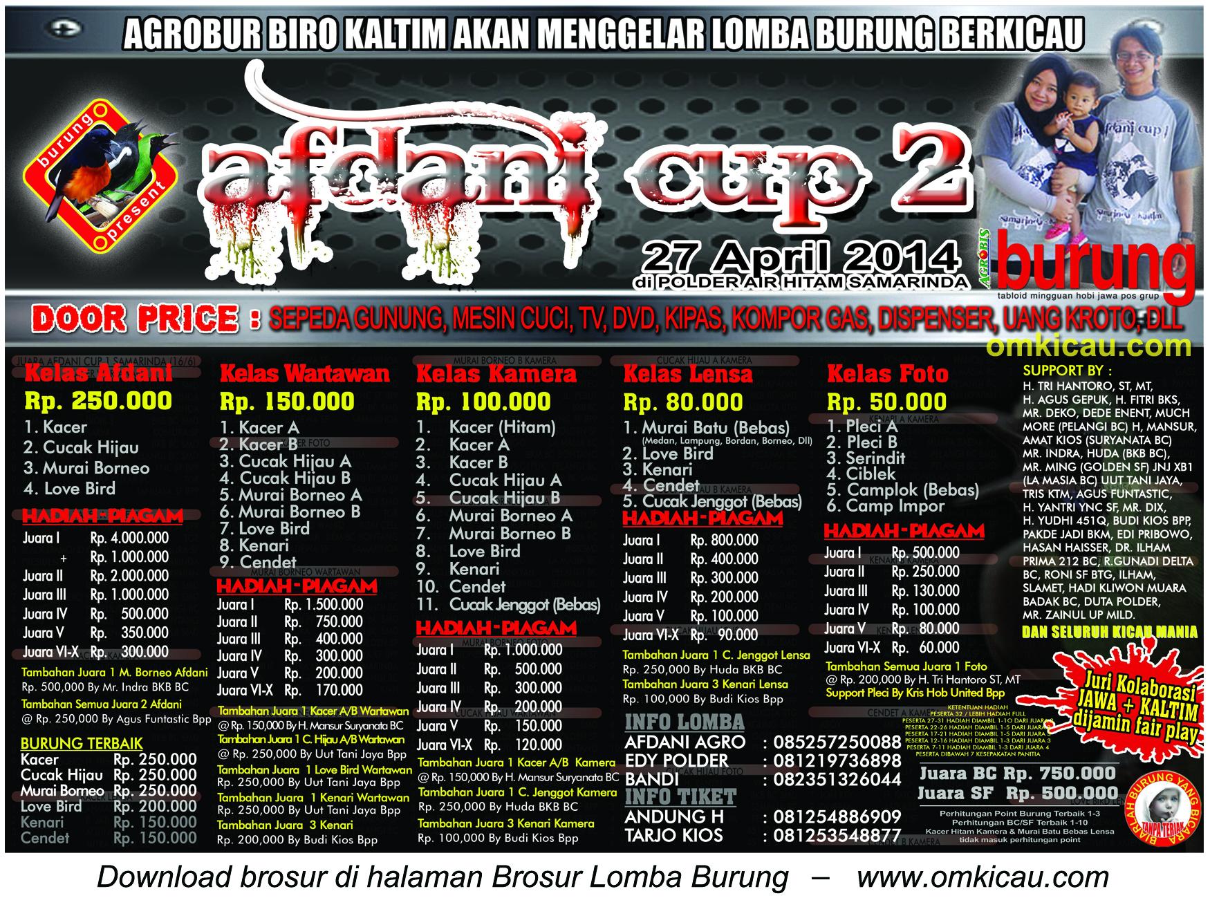 Brosur Lomba Burung Berkicau Afdani Cup 2, Samarinda, 27 April 2014