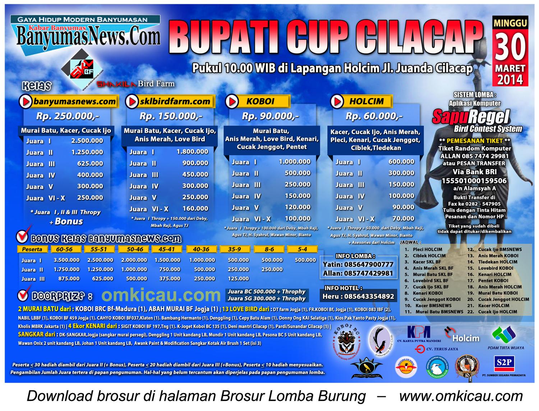 Brosur Lomba Burung Berkicau Bupati Cup Cilacap, 30 Maret 2014