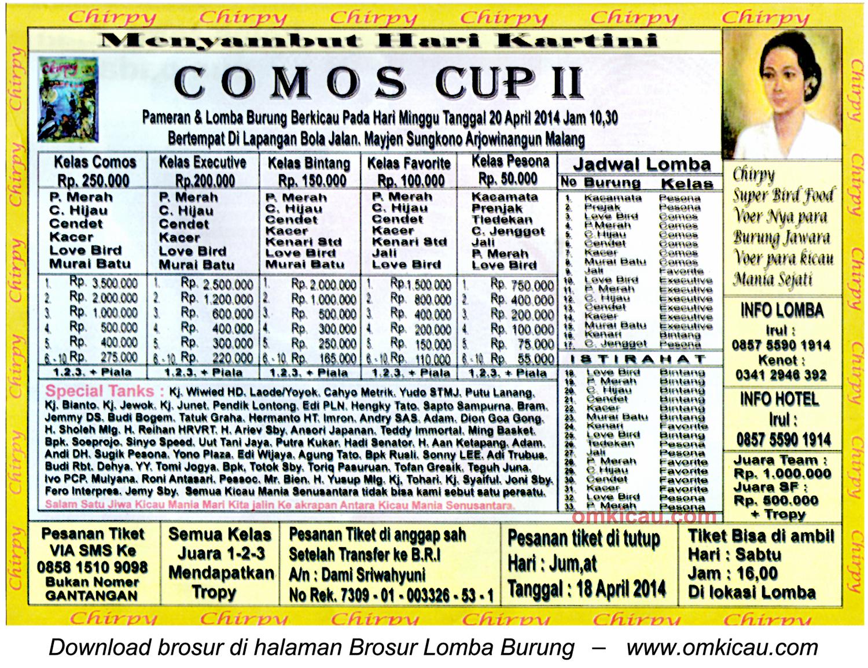 Brosur Lomba Burung Berkicau Comos Cup II, Malang, 20 April 2014