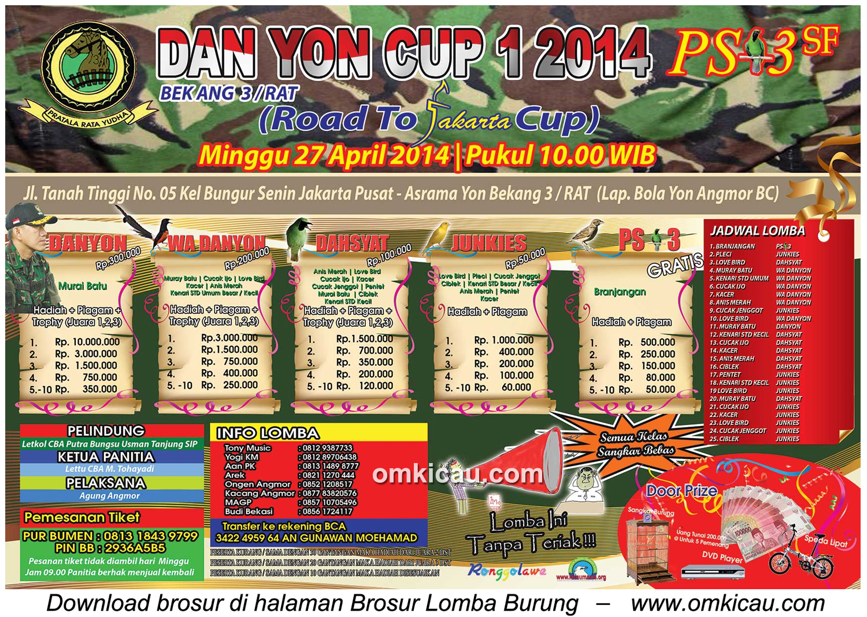 Brosur Lomba Burung Berkicau Dan Yon Cup 1, Jakarta Pusat, 27 April 2014