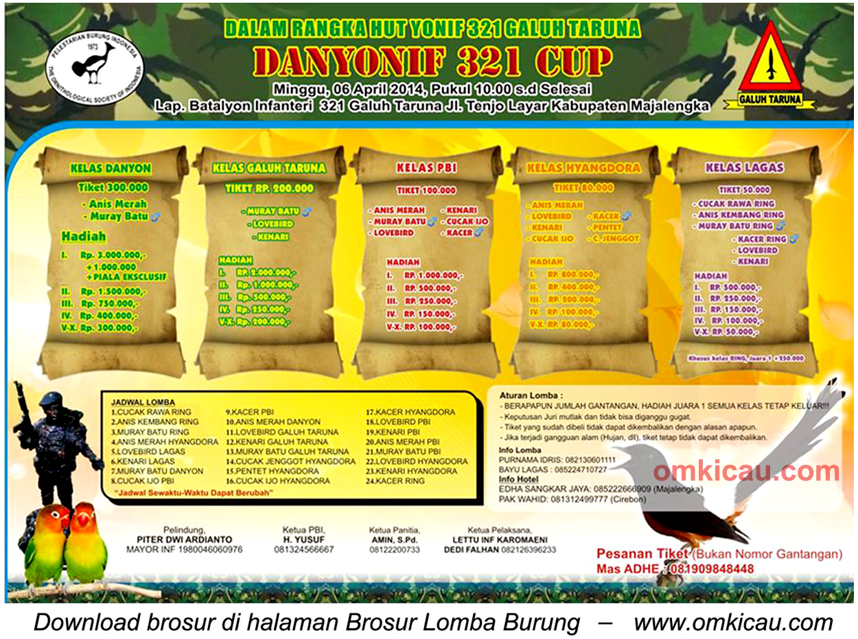 Brosur Lomba Burung Berkicau Danyonif 321 Cup, Majalengka, 6 April 2014