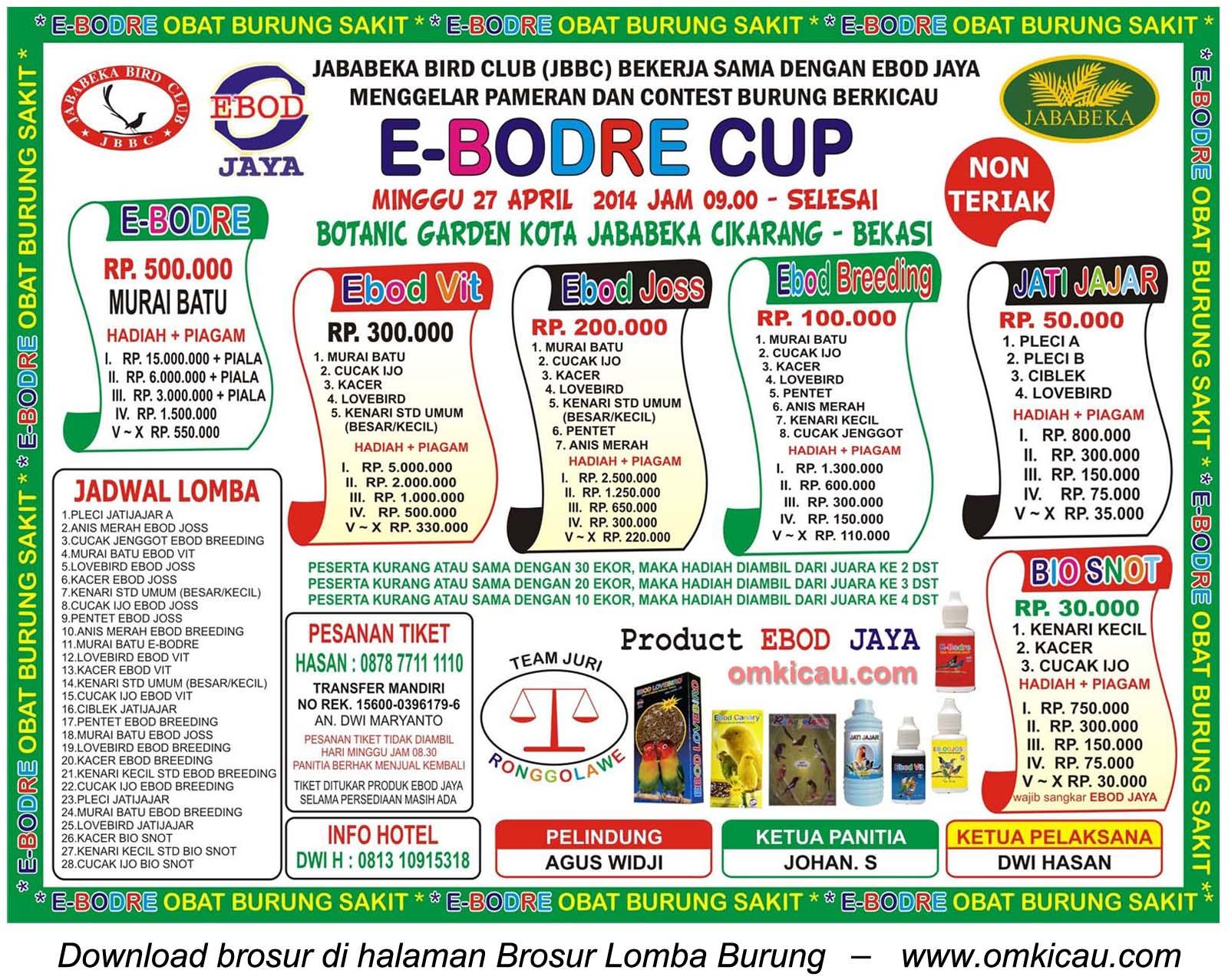 Brosur Lomba Burung Berkicau E-Bodre Cup, Bekasi, 27 April 2014