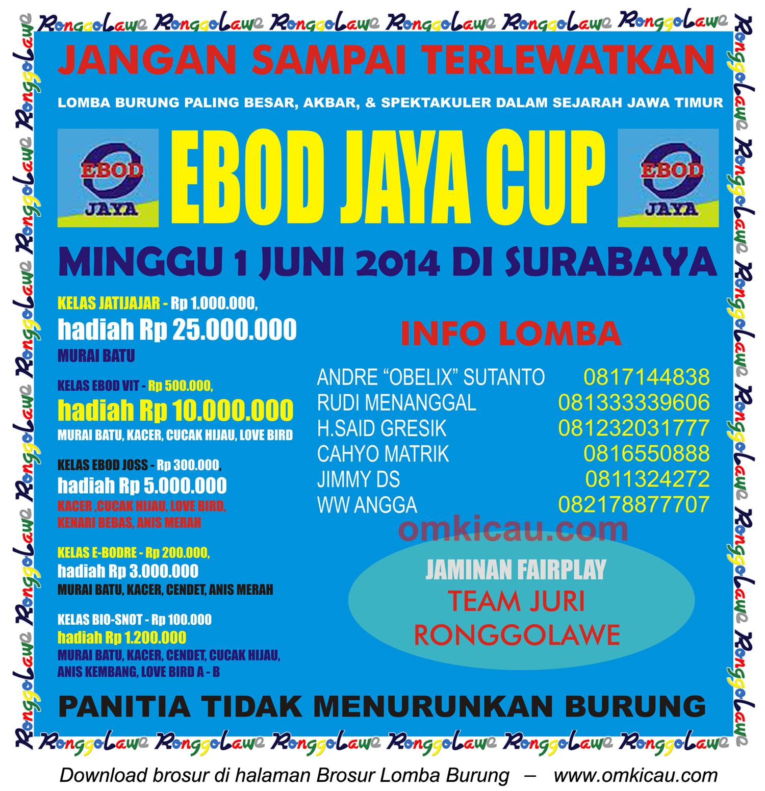 Brosur Lomba Burung Berkicau Ebod Jaya Cup, Surabaya, 1 Juni 2014