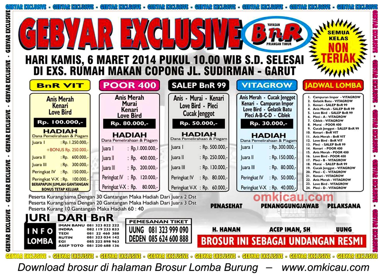 Brosur Lomba Burung Berkicau Gebyar Exclusive BnR, Garut, 6 Maret 2014