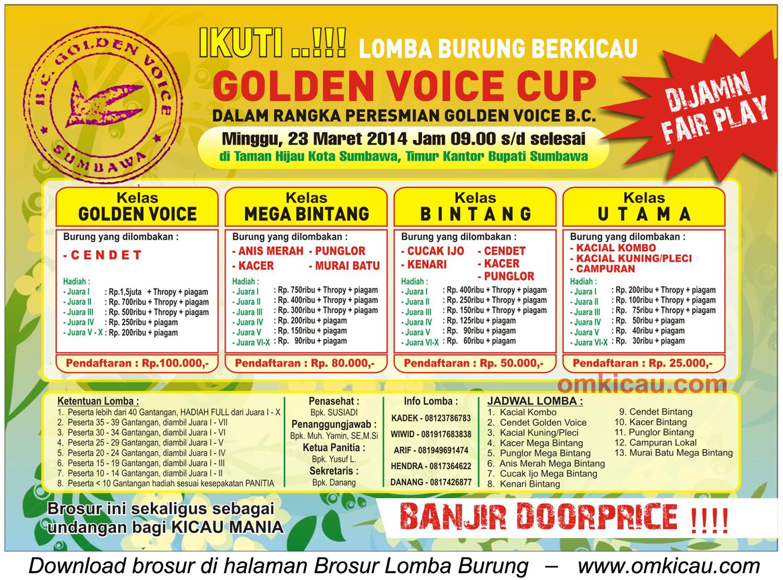 Brosur Lomba Burung Berkicau Golden Voice Cup, Sumbawa, 23 Maret 2014