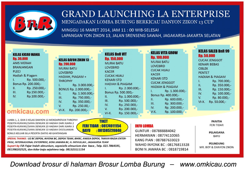 Brosur Lomba Burung Berkicau Grand Launching LA Enterprise, Jakarta Selatan, 16 Maret 2014