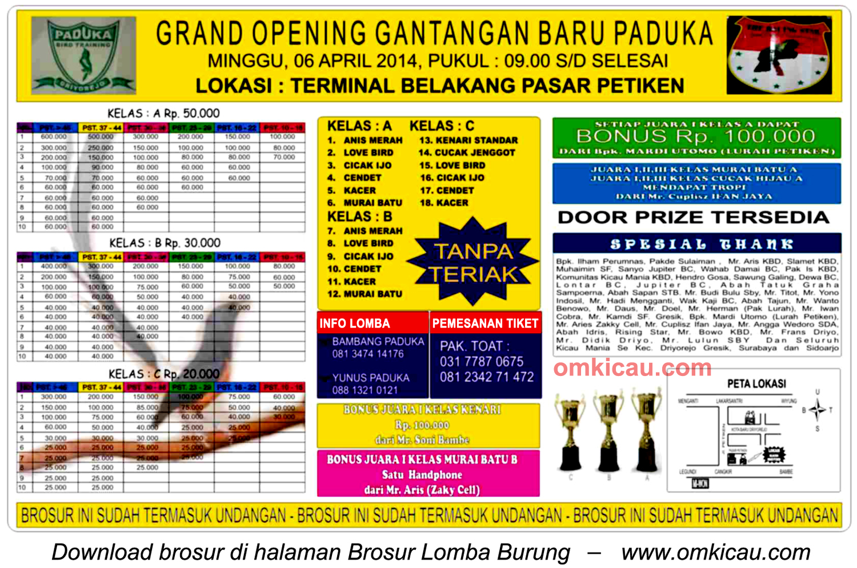 Brosur Lomba Burung Berkicau Grand Opening New Paduka, Gresik, 6 April 2014