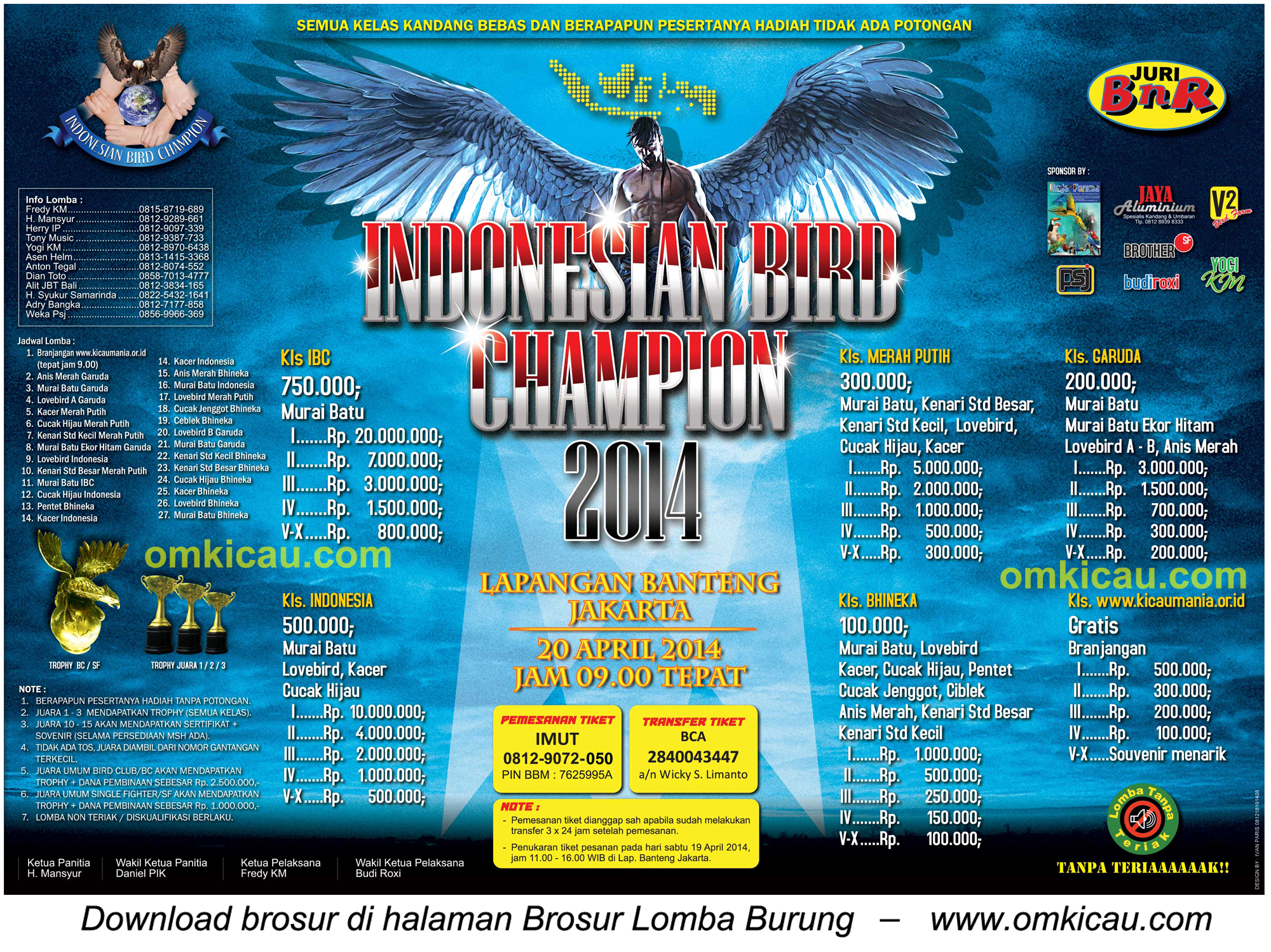 Brosur Lomba Burung Berkicau IBC Cup - Jakarta, 20 April 2014