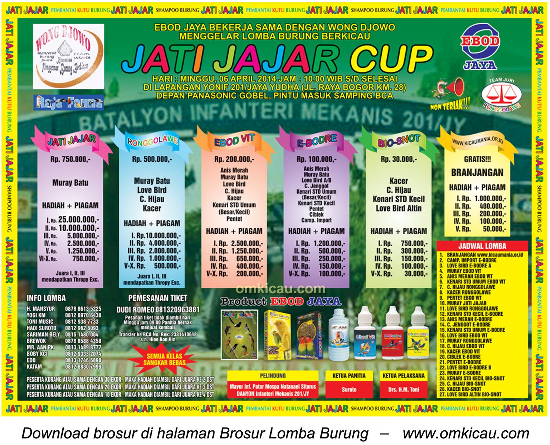 Brosur Lomba Burung Berkicau Jatijajar Cup, Jakarta Timur, 6 April 2014