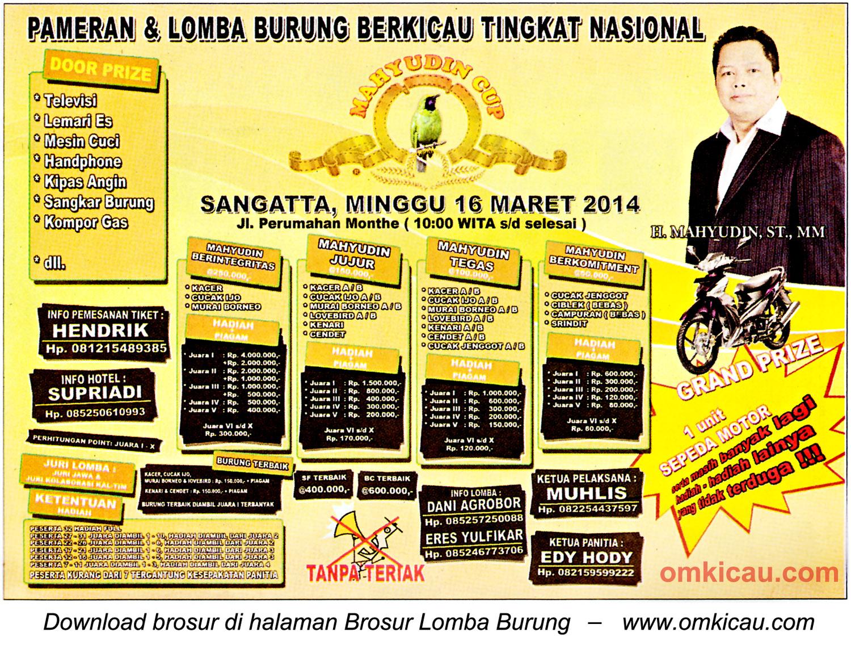 Brosur Lomba Burung Berkicau Mahyudin Cup, Sangatta, 16 Maret 2014