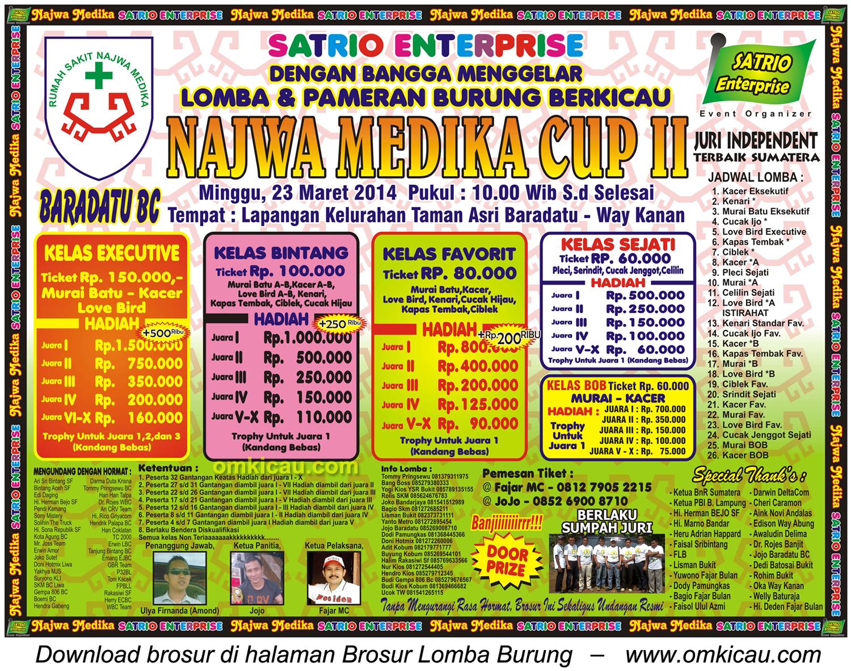 Brosur Lomba Burung Berkicau Najwa Medika Cup II, Way Kanan, 23 Maret 2014