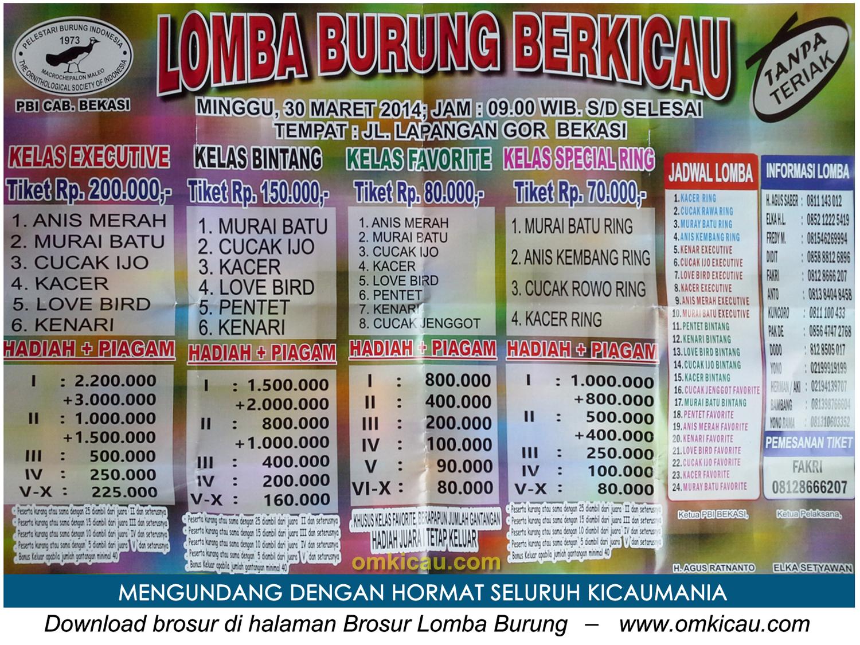Brosur Lomba Burung Berkicau PBI Bekasi, 30 Maret 2014
