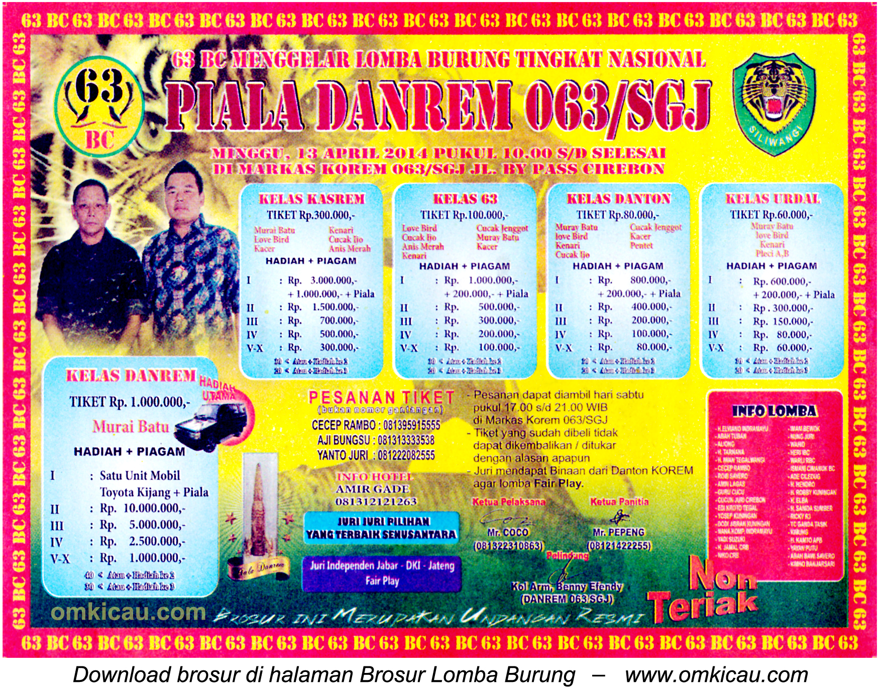 Brosur Lomba Burung Berkicau Piala Danrem 063 SGJ, Cirebon, 13 April 2014