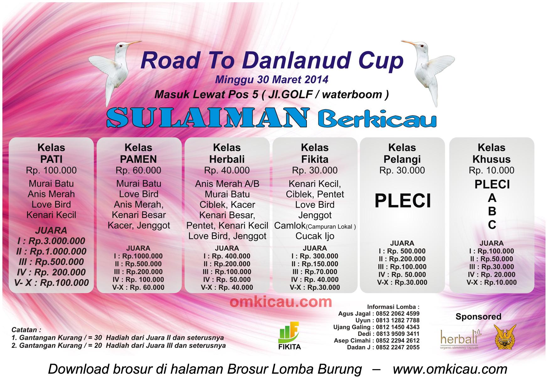 Brosur Lomba Burung Berkicau Road to Danlanud Cup - Sulaiman Berkicau, Bandung, 30 Maret 2014