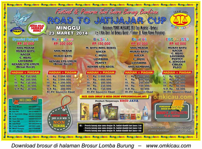 Brosur Lomba Burung Berkicau Road to Jatijajar Cup, Bekasi, 23 Maret 2014