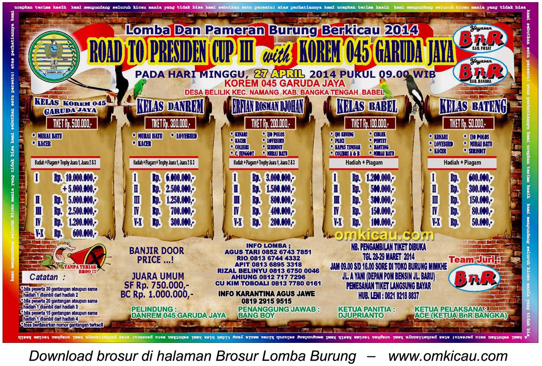 Brosur Lomba Burung Berkicau Road To Presiden Cup III, Bangka Tengah, 27 April 2014